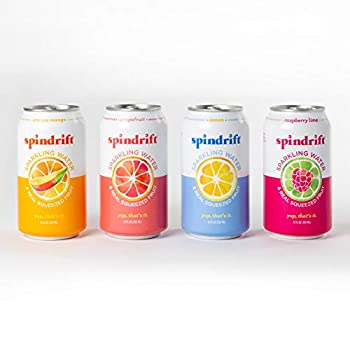 Spindrift Sparkling Water 4 Flavor Variety Pack Made with Real Squeezed Fruit 12 Fl Oz Cans Pack of 20 Seltzer Water Cans