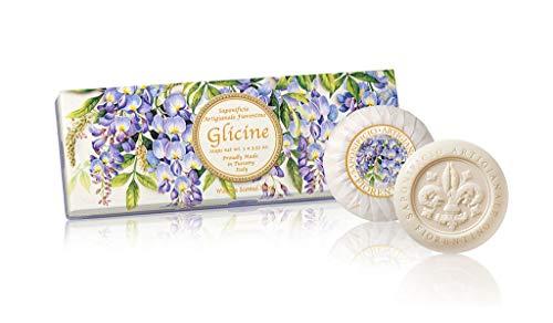 Glicine Sapone, Confezione regalo da 3 saponette rotonde scolpite giglio in rilievo, incarto plissettato e bollino, 3 x 100 g