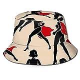 GOSMAO Sombrero de Pescador con Silueta de Super heroína Unisex Sombrero para el Sol al Aire Libre Negro