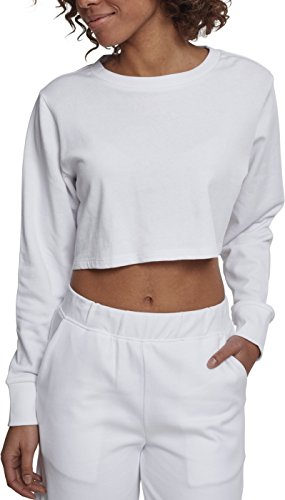 Urban Classics Damen Crop Pullover Ladies Terry Cropped Crewneck - Farbe white, Größe XS