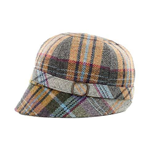 Mucros Weavers Ladies Flapper Hat (Gray Tartan with Beige, Baby Blue, Purple)
