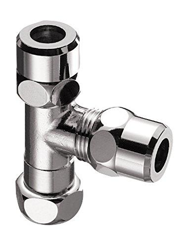 Schell Tuerca de compresión–Racor en T para tubos de cobre, de latón cromado, 1pieza, 3/8pulgadas x 10mm, 162425