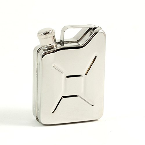 Bey-Berk 6 oz. Stainless Steel Jerry Can Flask, One Size, Grey