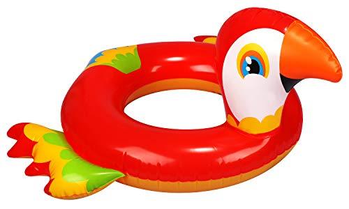 com-four® Schwimmreifen aufblasbar für Kinder bis 6 Jahre - Schwimmring im Papagei-Design - Schwimmhilfe ideal für Strand und Pool