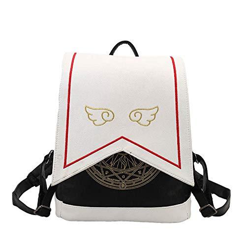 QPYYBR Mochila de mujer con alas bordadas a la moda, bolso de hombro femenino, mochilas de cuero Pu para niñas, mochila de moda para mujer