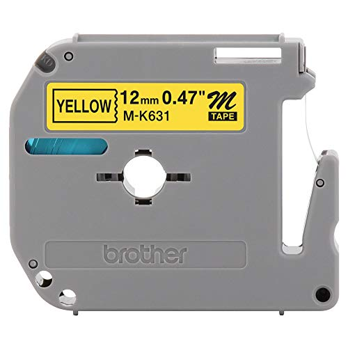 "Brother Genuine P-touch M-K631 Label Tape 1/2"" (0.47"") Standard Laminated P-touch Tape, Black on Yellow Laminated for Indoor or Outdoor Use, Water Resistant, 26.2 Feet (8M), Single-Pack (MK631),Black/Yellow"