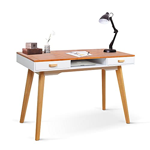 Organizedlife Home Office Desk with 2 Drawers and Open Compartment for Bedroom,Living Room,Laptop Computer Desk and Bedroom Writing Study Table with Solid Wood Desk Top and Legs,Brown and White