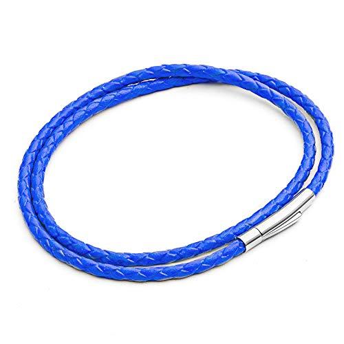Tribal Steel - Pulsera de piel para hombre, color azul neón, doble envoltura, cierre delgado y seguro, 21 cm es el tamaño estándar para hombre, de Tribal Steel