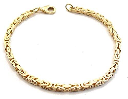 Königsarmband Gold Double, 3 mm quadratisch, Länge 16 cm, Goldarmband Herren-Armband Damen Geschenk Schmuck ab Fabrik Italien tendenze BZGY3-16
