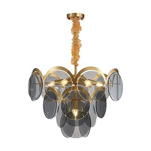 Warm Fumo Grigio Chiaro Glass Chandelier Luxury personalità Salone della casa di Villa Ristorante LED della Lampada di Modo Creativo Modern Art 60 * 60 * 45cm Luce Pendente