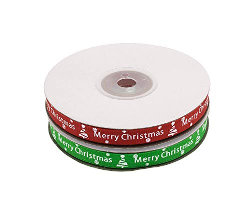 ATRibbons 50 Yards 3/8 Inch Merry Christmas Printing Grosgrain Ribbon Christmas Red and Green Ribbons for Gift Wrapping and Holiday Decorations,25 Yards/Spool x 2 spools (Red+Green)