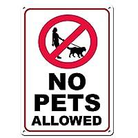 ペット使用禁止を警告するマーク、8*12インチ取り付けが簡単、錆びない/色あせない、屋内外、パッチマーク