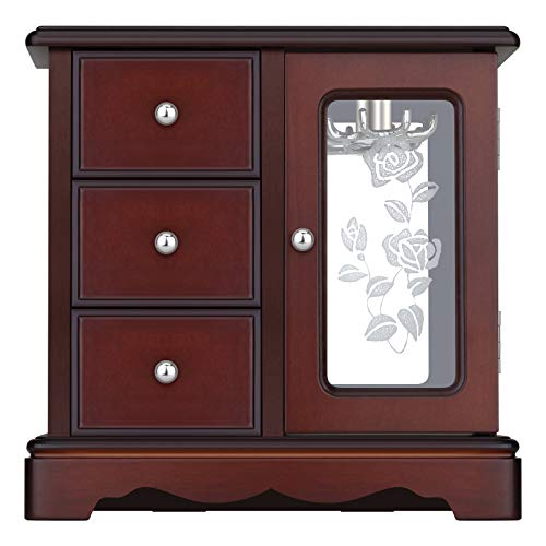 RR ROUND RICH DESIGN Solid Wooden Jewelry Box Makeup and Organizer Women Ring Storage with 3-Drawers Built-in Necklace Carousel and Mirror Brown