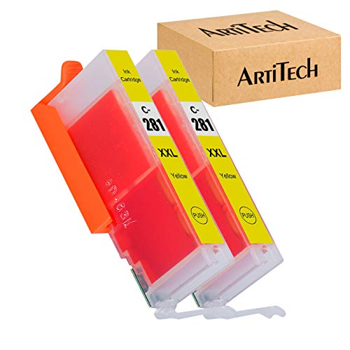 ARTITECH Replacement for Canon CLI-281 CLI-281 XXL Yellow Compatible Ink Cartridges Use for PIXMA TS9120 TR7520 TR8520 TS6120 TS6220 TS8120 TS8220 TS9520 TS6320 TS9521C Printer, 2 Pack CLI281 Y