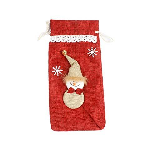 hong Wu Weihnachten Rotwein-Flaschen-Beutel Urlaub Champagne-Kasten-Beutel Tabelle Dekor- Red