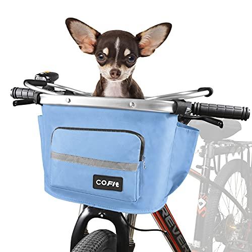 COFIT Canasta de Bicicleta Plegable, Cesta de Bicicleta Multifuncional Utilizada para Llevar Mascotas, Bolsas de Compras, Bolsas de Viaje, Acampar al Aire Libre Actualizado Azul