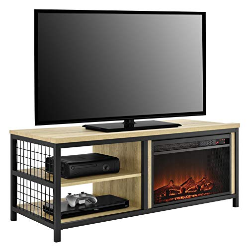 """Ameriwood Home Brookspoint Fireplace TV Stand for TVs up to 55"""", Golden Oak"""