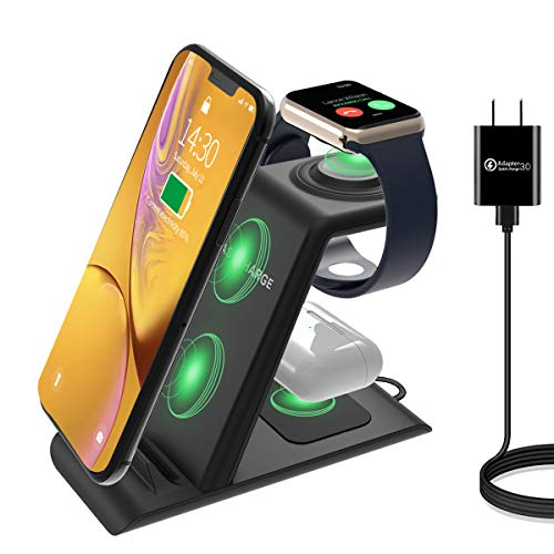 HATALKIN 3 in 1 Wireless Charging Station Compatible with Apple Products Multiple Devices Apple Watch SE 6 5 4 3 2 AirPods Pro/2 iPhone 12/11/Pro Max/X/XS/XR/8 Plus QI Fast Wireless Charger Stand Dock