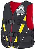 MESLE Schwimmweste V210, XS-XL, gelb-rot-schwarz, 50-N Auftriebsweste Prallschutz Schwimmhilfe, für Erwachsene und Jugendliche, Wasserski Wakeboard...