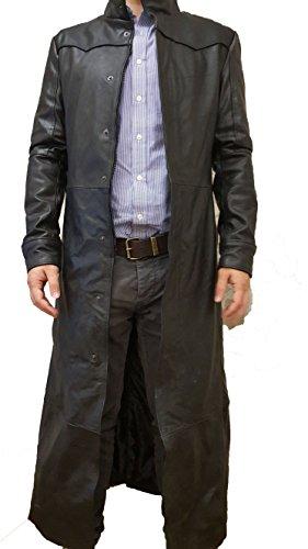 creazioniinpelle trench cappotto vera pelle nappa uomo s m l xl xxl 3xl 4xl made in italy gotico tubino (m)