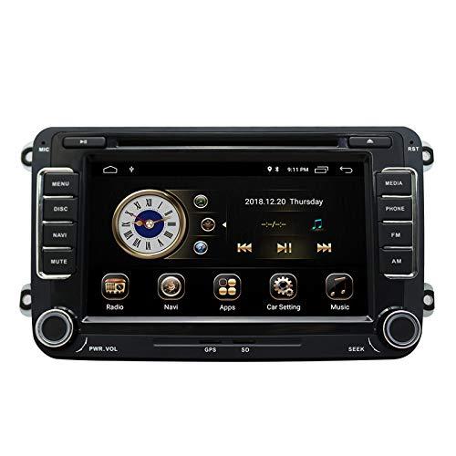 YULU Auto In Dash Stereo Head Unit Kompatibel mit Golf VW Skoda Sitz, 7 Zoll Touchscreen Android 9.0 Double Din Navigation mit Bluetooth Support Radio DAB + mit Rückfahrkamera, 3,5 mm Mikrofon
