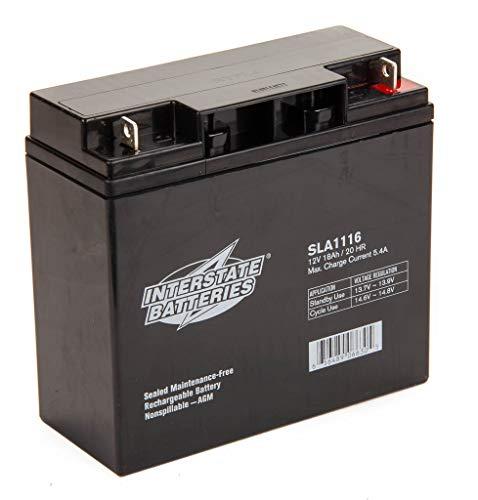 Interstate Batteries 12V 18AH Sealed Lead Acid (SLA) Battery (AGM) - Nut and Bolt Terminals (SLA1116)