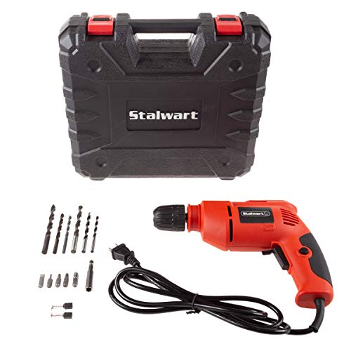 Stalwart 75PT1037 Electric Power Drill with 6Foot Cord – Variable Speed Reversable Wired Screwdriver with Bubble Level Carrying Case amp Accessories