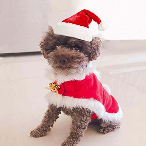 Enjoying Dog Christmas Costume Cat Santa Hat and Xmas Cloak Puppy Christmas Outfit with 2 Bells