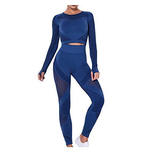 Mymyguoe Traje Deportivo de Mujer Chándal Traje de Jogging Conjuntos Deportivos Traje de Yoga 2 Piezas Pantalones de Manga Larga Leggings Cintura Alta Gimnasio Trajes Deportivos Ajustados