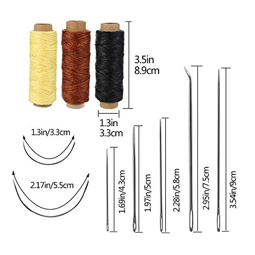 50-Pieces-Leather-Tools-Kit-Leather-Tools-and-Supplies-Leather-Working-Kits-Supplies-with-Leather-Tool-Box-Prong-Punch-Edge-Beveler-Wax-Threads-Needles-Perfect-for-Stitching-Punching-Cutting-Sewing
