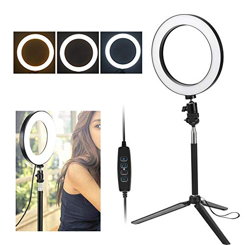Hopcd Luce Video ad Anello LED, 20 cm 3200K-5500K Lampada Fotografica dimmerabile con Porta USB con treppiede + Stick per Selfie per Trucco/Streaming Live, Luce ad Anello a LED