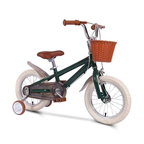 LHAHGLY Bicicleta para niños, Marco de Acero Rosa y Estilo Verde 14-16-18 Pulgadas con Rueda de Entrenamiento Canasta Mudguard / 3-13 años niña ( Color : Green , Size : 60cm/23.6in )