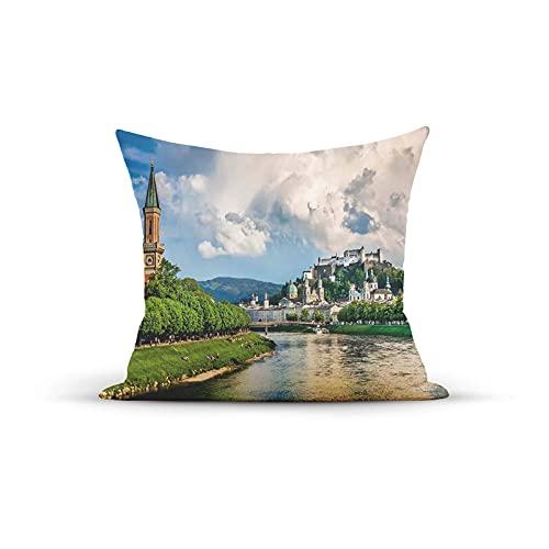 Federa decorativa per cuscino vintage, stampa storica europea di Salisburgo con cielo nuvoloso e fiume in Austria, federa per cuscino da interni per casa, divano, divano, 45,7 x 45,7 cm