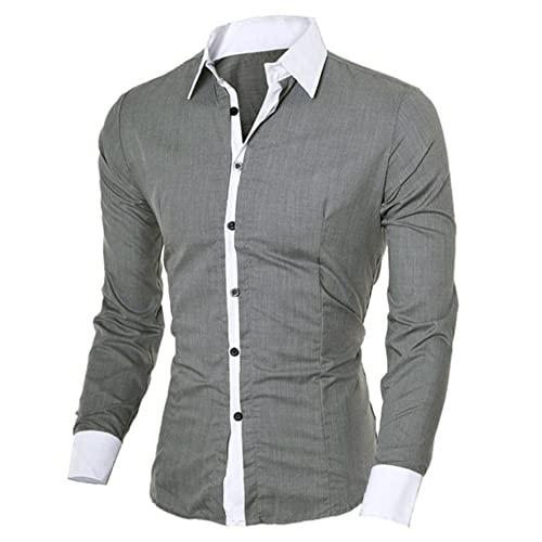 Camisetas de Manga Larga para Hombre Botón Blanco clásico Camisa para Hombre
