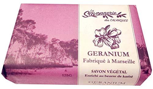 Savon végétal - GERANIUM - Doux et hydratant - Enrichi au beurre de karité 125g (1 x 125 g)