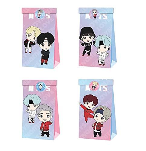 12pcs BTS Party Gift Bag Bolsas de dulces de cumpleaños Bangtan Boys Bolsa de papel reutilizable Kids Party Cajas para suministros de fiesta de cumpleaños temáticos Regalar para niños