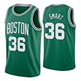 36# Smart Celtics Retro Basketball Jersey for Men, Fans Edition Shirts, Mesh Breathable Hot Pressed Polyester T-Shirts(S-XXL)-Green-S