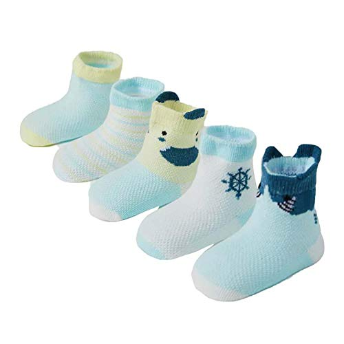 YUMAN 5 Pairs of Baby Children's Socks Spring and Summer Baby Breathable Cotton Socks (Blue Shark)