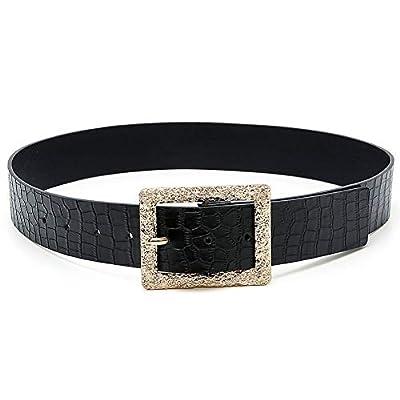 Earnda Womens Western Buckle Belts Fashion Gold Black Snakeskin Faux Leather Strap Medium