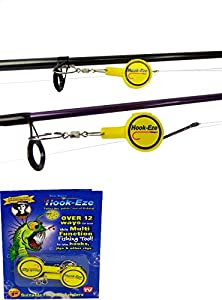 HOOK-EZE Original Packaging - Fishing Gear Knot Tying Tool - for Tying Fishing Hooks to Fishing line and Other Fishing Gear   All in 1 Fishing Tool   Great for Kids and Adults (Yellow OP)