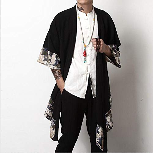 X Japonés Kimono Hombres Chaqueta De Punto For Hombre De La Chaqueta Masculina Haori Samurai Ropa Traje De Kimono Yukata Kimono Yukata Haori Camisa Se avete domande circa le dimensioni, vi prego di