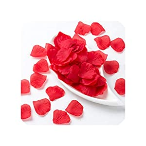 Daydreaming-shop 100Pcs/ Pack Artificial Rose Leaves Fake Flower Piece Simulation Silk Rose Petals Wedding Scatter Confetti Decoration-Red-