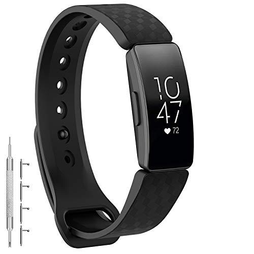 GVFM Bands Compatible with Fitbit Inspire 2 /Inspire HR/Inspire, Adjustable Soft Silicone Bracelet Accessories Sport Strap for Women Men Bands (Large: 6.7-8.1 inch, Black)