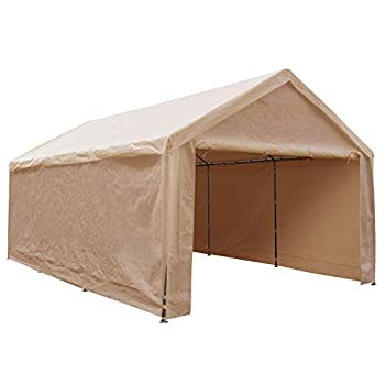 Abba Patio Extra Large Heavy Duty Carport with Removable Sidewalls Portable Garage Car Canopy Boat Shelter Tent for Party Wedding Garden Storage Shed 8 Legs 12 x 20 Feet,Beige