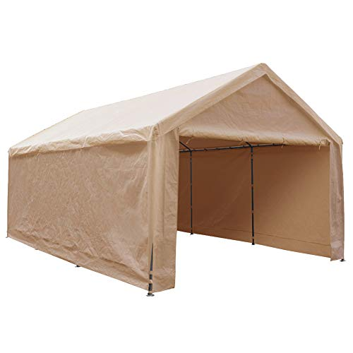 Abba Patio Extra Large Heavy Duty Carport with Removable Sidewalls Portable Garage Car Canopy Boat Shelter Tent for Party, Wedding, Garden Storage Shed 8 Legs, 12 x 20 Feet,Beige