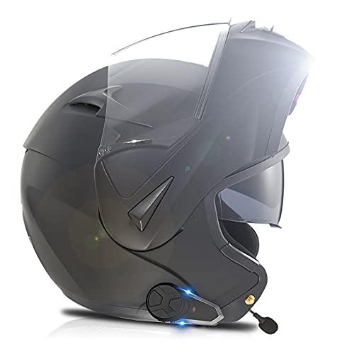 Casco Bluetooth para motocicleta,casco completo modular con visera solar doble tipo flip,casco DOT/ECE, sistema de comunicación integrado Mp3 integrado Casco motocicleta integrado K,XS(53~54CM)