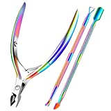 Cuticle Trimmer with Cuticle Pusher, XUNXMAS Cuticle Remover Cutter Nipper Scissor and Tri...