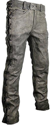 MDM Motorrad Lederhose an den seiten geschnürt in grau (36)