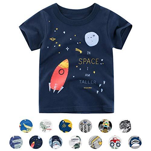 Unisex Baby T-Shirt Baumwolle Süß Karikatur Tier Muster Tops für 1-7 Jahre Alt (3-4 Jahre, E Marine Rakete)