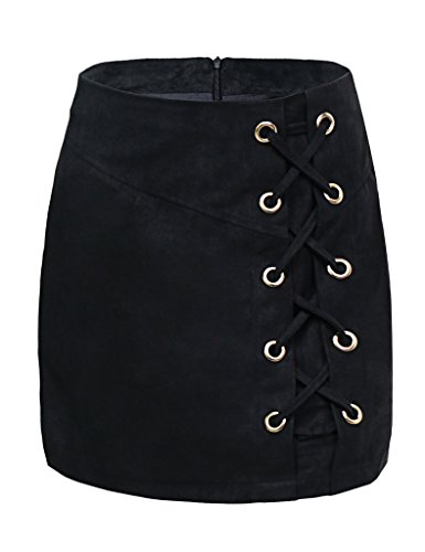 DUBACH Women's High Waist Faux Suede Solid A-Line Skirt(Black,XL)